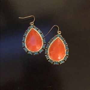 Orange and teal earrings